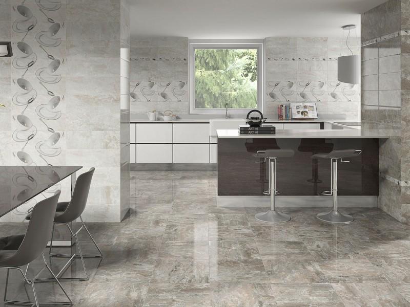 Diseño cerámico de cocinas modernas con motivos de cubertería y tazas