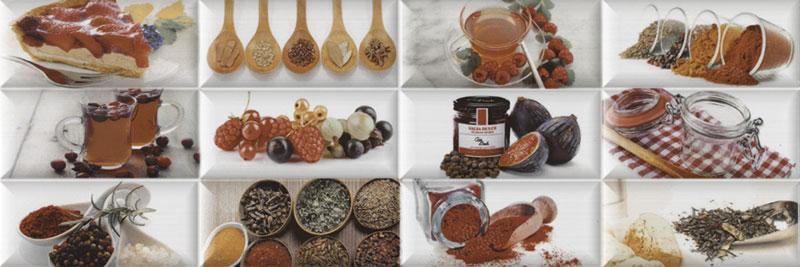 Revestimiento para cocina peperone decorado con elementos culinarios