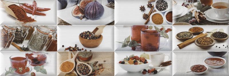 Revestimiento para cocina peperone decorado con elementos culinarios 1